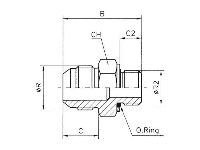 Male stud BSPP (B S P  parallel) with packing ring type: BA  19