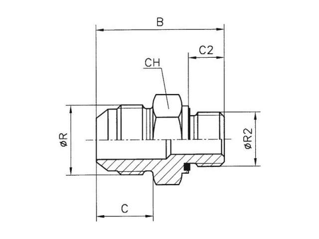 Male stud BSPP (B S P  parallel) with packing ring type: BA  20